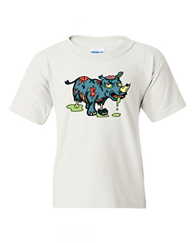 Zombie Rhino Animals DT Novelty Youth Kids T-Shirt Tee (X-Large, White) ()