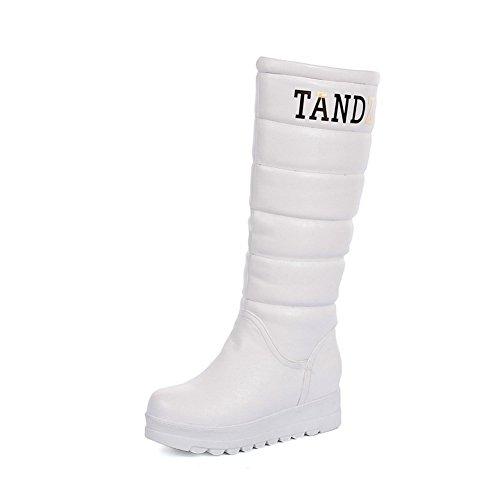 BalaMasa Girls Platform Anti-Skidding Bottom Round Toe Imitated Leather Boots White 65eDgT1Y