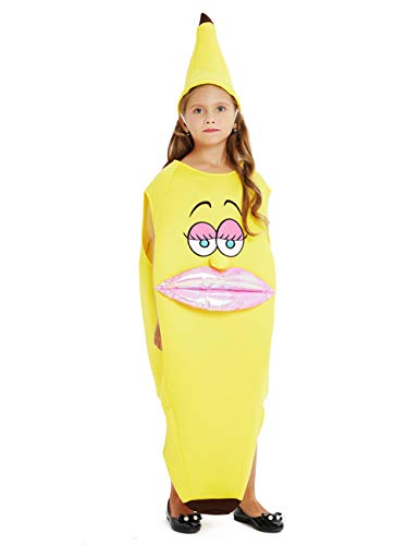 NUCLIGHTER Kids Halloween Costumes Banana Sanck Yellow Costume Lightweight Cartoon Food Costume with Hat for Boys and Girls -