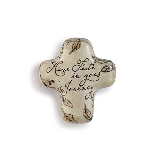 DEMDACO Have Faith Brown Leaf 2 x 2 Resin Stone Collectible Artful Cross Token Figurine (Faith Crosses By)
