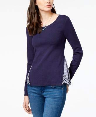 - maison Jules Womens Layered-Look Eyelet Knit Sweater bluenotte XXS