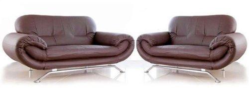 New Florence Zwei Stück Suite 3+ 2-Sitzer, modernes Kunstleder Sofa-Set in braun
