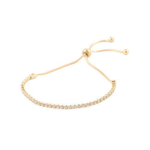 Rayley Sterling Silver Bezel Set Cubic Zirconia Adjustable Bracelet (Gold)