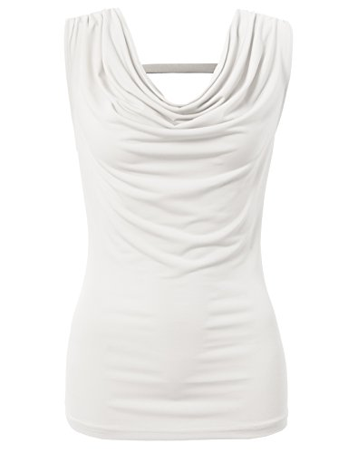 H2H Women's Cap Sleeve Cowl Neck Top White US S/Asia S - Neck Cowl Cap Sleeve