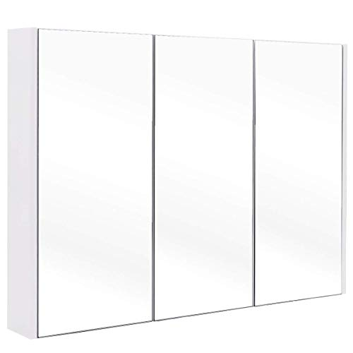 Tangkula 36 Wide Wall Mount Mirrored Bathroom Medicine Cabinet Storage 3 Mirror Door