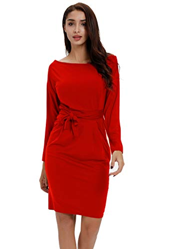 Payeel Office Midi Dresses O-Neck Pencil Dress Pockets with Belt Vest Dresses (#Red Sleeved, XL)