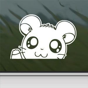 Hamtaro Sticker Decal Hamster Hamshir Car Window Wall Macbook Notebook Laptop Sticker Decal by faststicker (white)