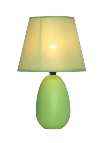 Simple Designs LT2009-GRN Mini Oval Egg Ceramic Table Lamp, Green (Lamp Green Lime)