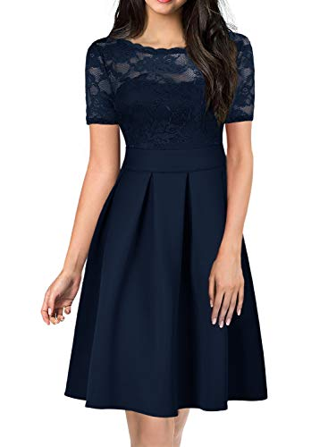 Fit and Flare Dresses for Womens Lace Floral 1940s 50s Style Casual Vintage V-Back Ladies Suits Evening Cocktail Party Swing Attire Plus Size 256 (XXL, Drak Blue) ()