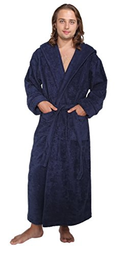 Arus Men's Hood'n Full Ankle Length Hooded Turkish Cotton Bathrobe L Navy Marine