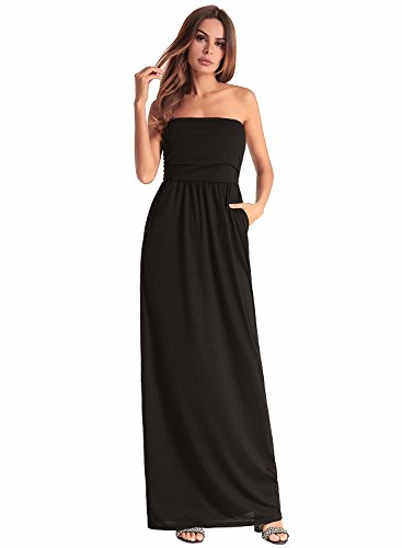 Ruiyige Women Strapless Formal Dress Empire Waist Bridesmaid Gowns Evening Prom Party Dresses with Pockets Black XL -