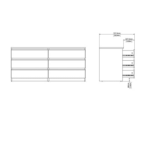 Bedroom Pemberly Row Modern Contemporary 6 Drawer Wide Double Bedroom Dresser in Truffle modern dressers