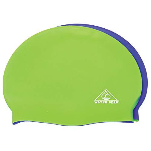 (Water Gear Jazz Silicone Swim Cap - Half Lime/Half Blue)
