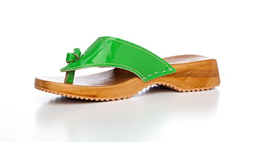 Clogs Mules Backless Slippers Slip-on Shoes, PU Patent Leather Green