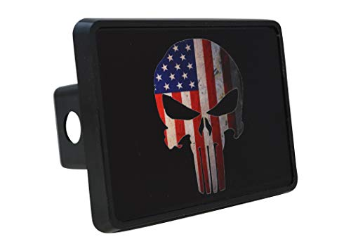 Rogue River Tactical USA American Flag Trailer Hitch Cover Plug US Patriotic Vintage Special Forces Skull