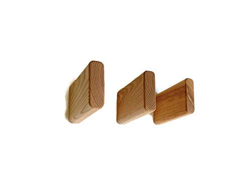 Natural Wooden Coat Hooks Wall Mounted made from an Ash wood (Set of 2)