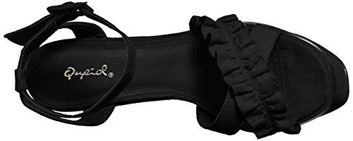 Qupid Women's Platform Heeled Sandal Black Suede is6A3KeCW
