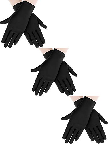 Sumind 3 Pairs Wrist Length Gloves Women Short Satin Gloves Opera Short Gloves for 1920s Wedding Party (Black 2)