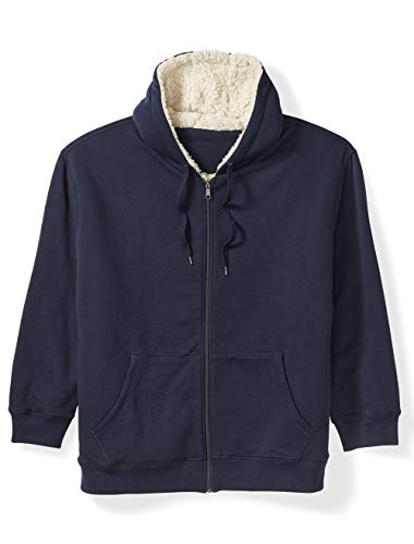 Amazon Essentials Men's Big and Tall Sherpa Lined Full-Zip Hooded Fleece Sweatshirt fit by DXL, Navy, 6X