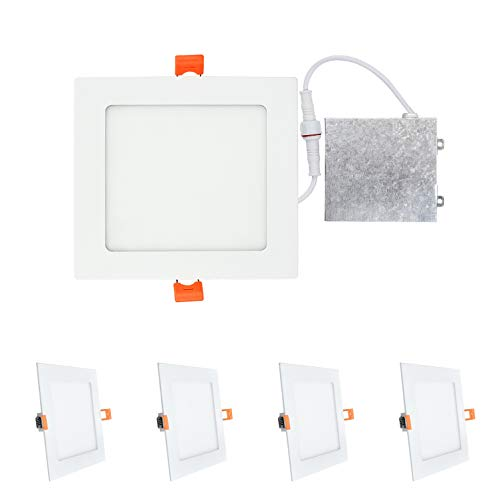 OSTWIN (4 Pack) 6 inch 12W (60 Watt Repl.) IC Rated LED Recessed Low Profile Slim Square Panel Light with Junction Box, Dimmable, 5000K Daylight 840 Lm. No Can Needed ETL & Energy Star Listed 6 Inch 120v Insulated Contact