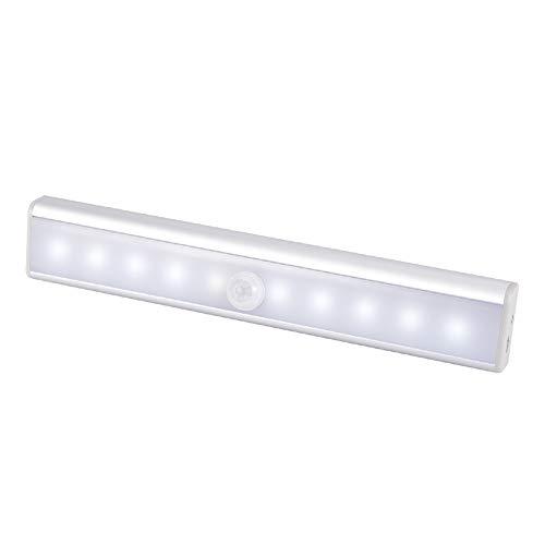 WZTO Luz Armario, Luz del gabinete 10 LED USB Recargable Barra de Luz Làmpara con Sensor de Movimiento Inalámbrico para...