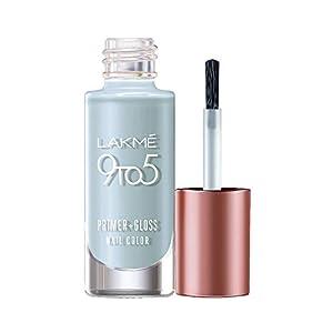 Lakmé 9 to 5 Primer + Gloss Nail Colour, Blue Scape, 6 ml