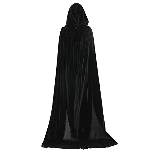WESTLINK Cloak with Hood Costume Hooded Cape Crushed Velvet for Men Women (43-66inches) Black -