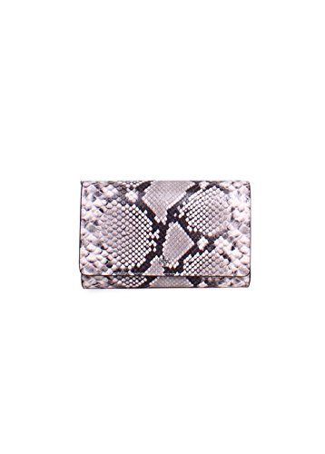 Tory Burch Robinson Snake Skin Embossed Leather Chain Wallet Crossbody in Nautral