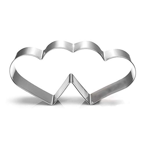 Cookie Cutter - Double Heart Cookies Cutter Cake Mould Sweet Love Pastry Diy Baking Stainless Steel Metal - Copper Thick Heart Grip Plastic Anatomical Rice Piece Mini Prime Heat Bulk Pack S