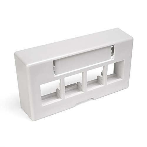- Leviton 49910-EW4 4-Port QuickPort Extended Depth Modular Furniture Faceplate, White