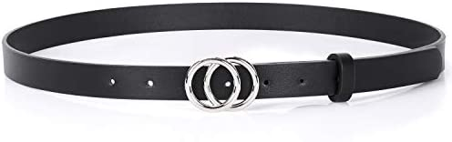 Double Ring Leather Belts for Women SANSTHS O-Style Gold Buckle Skinny Dress Belt 0.86 inch Width for Jeans Pants