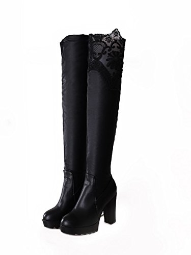 the Women's Above Blend Boots High heels AmoonyFashion Black Toe knee Round Closed Materials gdaq8xzS