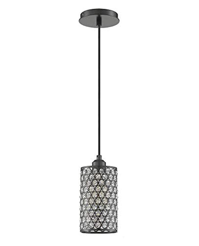 Seenming Lighting 1 Light Crystal Pendant Lighting with Plating Black, Modern Style Ceiling Light Fixture with…