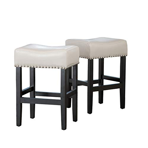 Great Deal Furniture 238557 Chantal Backless Set of 2 Ivory Leather Counter Stools w Chrome Nailheads