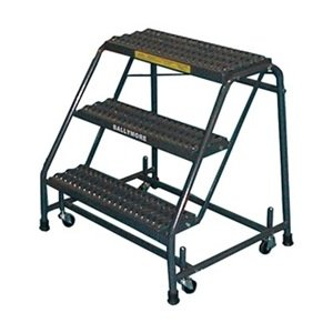 Ballymore 418X Steel Standard Rolling Ladder with Spring Loaded Casters without Handrails, Expanded Metal Tread, Unassembled, OSHA/ANSI Standard, 4 Steps, 16'' Step Width, 10'' Top Step Deep, Gray