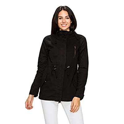 Lock and Love LL Women's Casual Military Safari Anorak Jacket with Hoodie at Women's Coats Shop