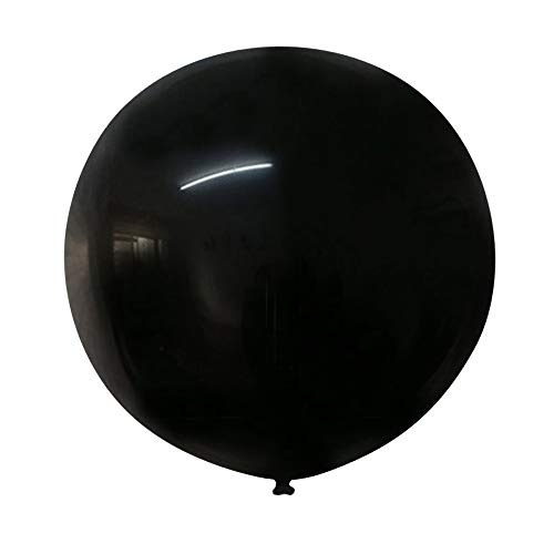 Neo LOONS 36 Inch Giant Latex Balloons, Standard Black Round Balloons for Birthdays Weddings Receptions Festival Party Decoration, Pack of 5 Pcs]()