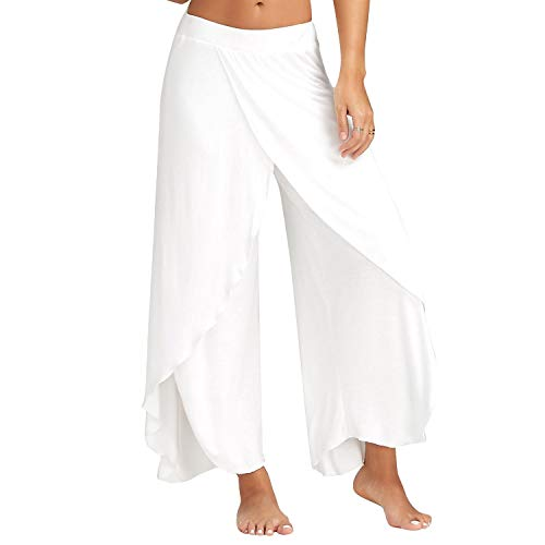 - Womens Cropped Yoga Pants High Waist High Slit Flare Palazzo Swing Flowy Baggy Casual Lounge,Small White