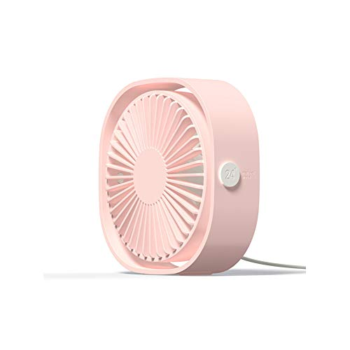 (GGMC 360° USB Fan Cooler Cooling Mini Fan Portable 3 Speed Super Mute Cooler for Office Cool Fans Car Home Notebook Laptop,Pink)