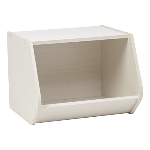 IRIS TACHI Modular Wood Stacking Open Storage Box, Off White