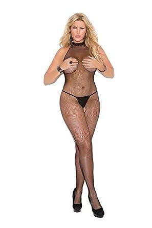 1c2ec1689ed Elegant Moments High Neck Fishnet Bodystocking Plus Size Plus Size   Amazon.co.uk  Clothing