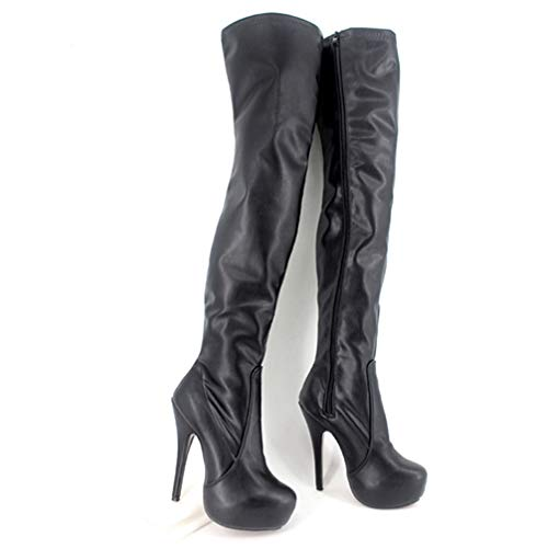 T-JULY Women Sexy Over The Knee Boots Platforms Stilettos Fetish High Heels Night Club Shoes