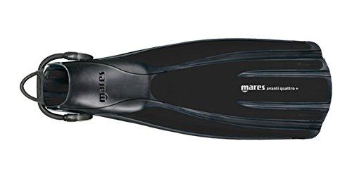 Mares Avanti Quattro Plus Open Heel Bungee Strap Fin, Black, Regular (Open Heel Swim Fins)