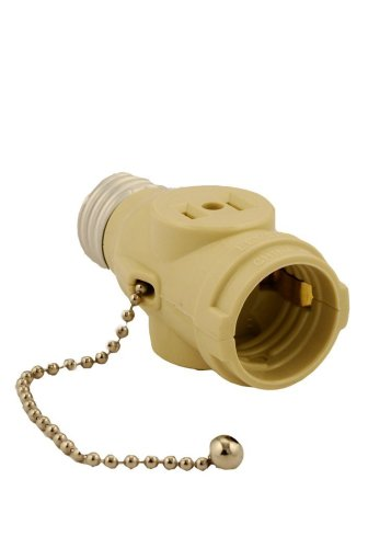 Leviton 1406-I Polarized Lamp Holder Adapter With Pull Chain And 2 Outlet, 660 W, 125 V, 1 Pack, Ivory