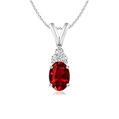 Angara Diamond V-Bale Ruby Pendant in Platinum - July Birthstone Pendant 5z6PfcGnUb