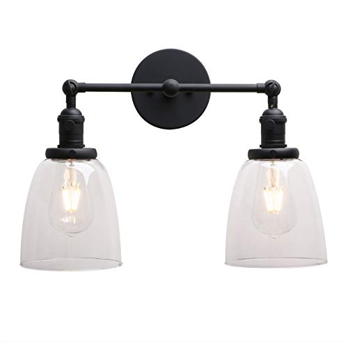 Permo Double Sconce Vintage Industrial Antique 2-Lights Wall Sconces with Oval Cone Clear Glass Shade (Black) - Double Wall Sconce