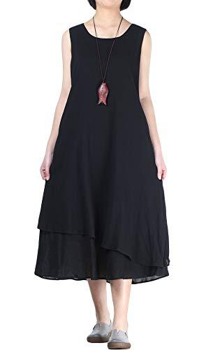Mordenmiss Women's Cotton Linen Sleeveless Dress Double Layer Swing T Shirt Dresses with Pockets Black XL ()