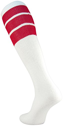 TCK Retro 3 Stripe Tube Socks (White/Red, Large)]()