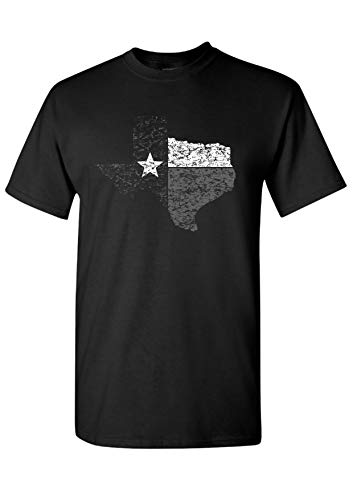 (Strange Cargo Texas State Flag Outline Black and Grey T-Shirt M)