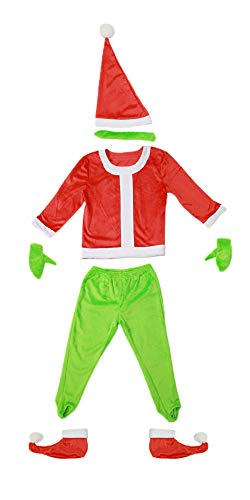 Grinch Santa Costume with Gloves for Kids S -
